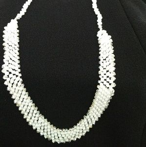 Handmade white and clear beaded necklace